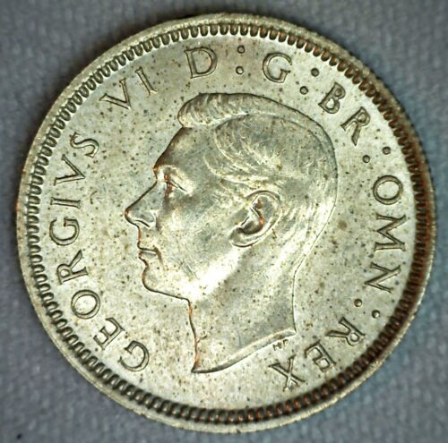 1938 Great Britain Uncirculated Sixpence Silver Coin 6 Pence UNC Silver UK Coin