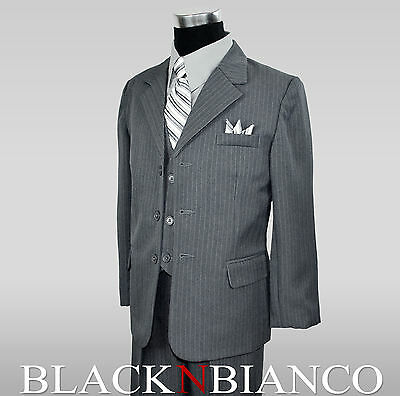 Boys Pinstripe Suit in Grey with Shirt and Tie 2 3 4 5 6 7 8 10 12 14 16 18 20 - Boys Grey Suit