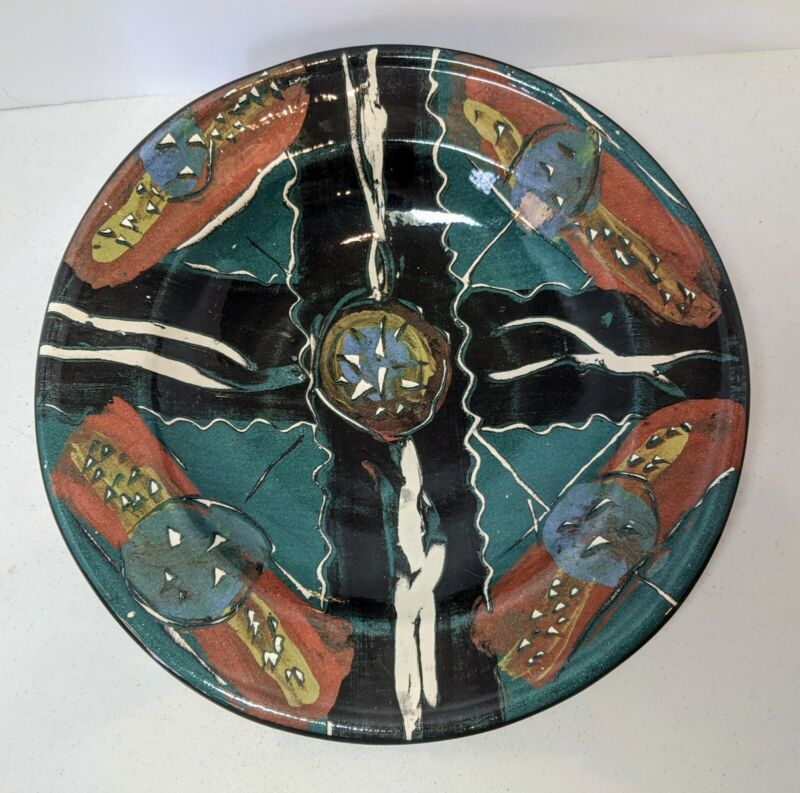 """Claudia Reese Cera-mix Pottery Bowl Serving Dish Multicolor 9.75"""""""