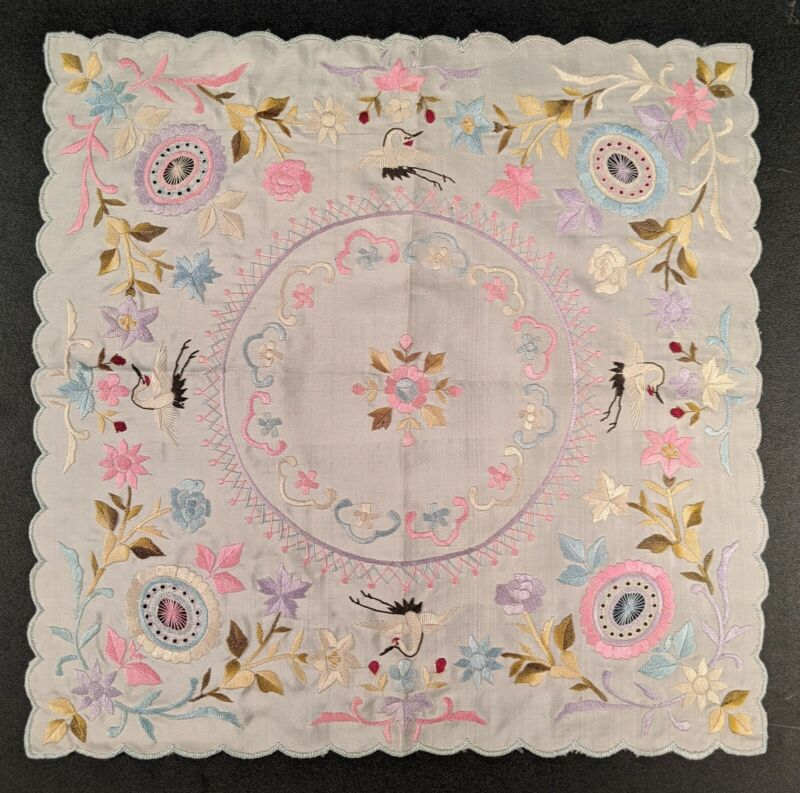 19TH C POLYCHROME HAND EMBROIDERED SILK HANDKERCHIEF WITH CRANES
