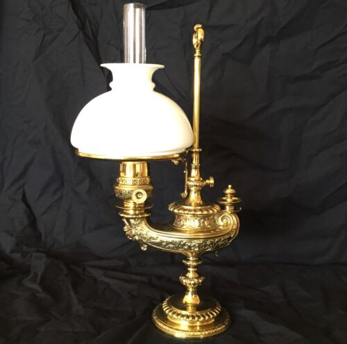 ANTIQUE HARVARD BRASS STUDENT LAMP PLUME & ATWOOD c.1880s - SUPERB CONDITION
