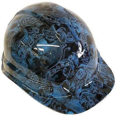 Hydro Dipped Hard Hat Ridgeline Cap Style Custom Light Blue Filigree Skulls