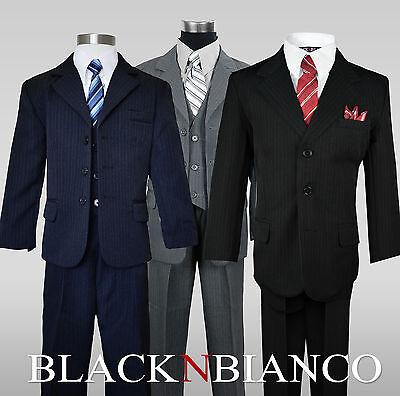 Boys Pinstripe Suit Three Button Kids Outfit, Includes Shirt, Vest, Tie, Pants