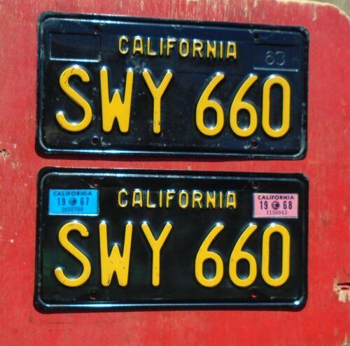 1967 - 1968 California Nice Original PAIR SWY 660  License Plates
