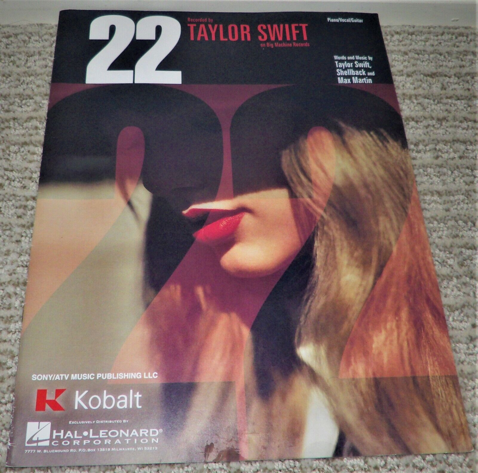 22 By Taylor Swift - Sheet Music Piano, Vocal, Guitar - Very Good Condition - $7.99