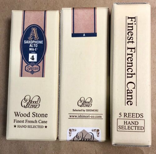 NOS/1 Unopened Box of 5 Reeds, WOODSTONE by ISHIMORI ALTO #4 Thick