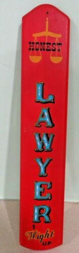Honest LAWYER 1 Flight up wooden advertising hand painted original vintage sign