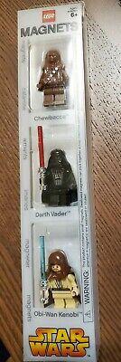 Lego Star Wars MiniFig Magnet Set Chewbacca Darth Vader Obi-Wan Kenobi BRAND NEW