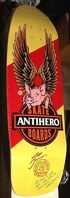 "RARE! Signed Anti Hero Jeff Grosso Free Pig 10.1"" Chris Strople skateboard deck"