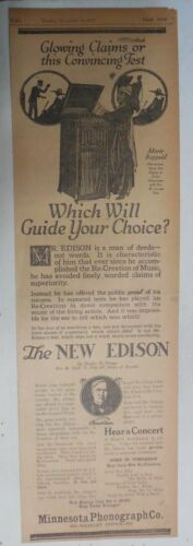 """Edison Phonograh Ad: """"The New Edison Phonograph"""" from 1917 Size: 9 x 22 inches"""