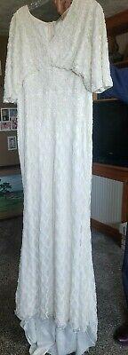 Wedding Dress Ecru beaded train size 16 New
