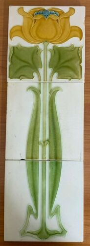 Collectible England vintage rare floral 1set antique art nouveau majolica tiles