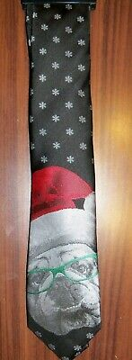 Black USMC Bulldog Wearing Santa Christmas Hat Mascot Mens Neck Tie Necktie NWT
