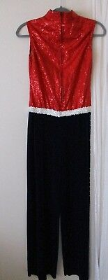 Red Jumpsuit Halloween Costume (Womens Costume jumpsuit M red white blue dancer Halloween marching)