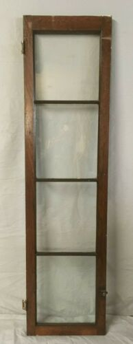 Antique 14x55 Walnut 4 Lite Casement Cabinet Door Window Interior Vtg 244-19E