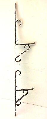 Black Wrought Iron Metal Flower Planter Hanger Hook Architectural Hardware Decor