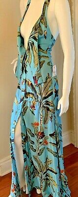 PatBO Halter Maxi Dress Size 4 Tropical Print Blue NWT $660