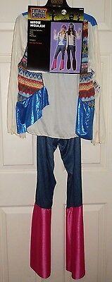 New Juniors OSFM Hippie Costume Halloween Shirt Pants Necklace 70's ](Vintage Halloween Costumes 70s)