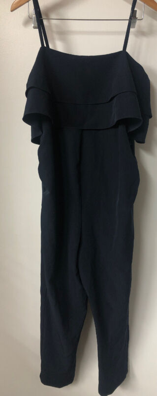 ASOS MATERNITY Navy Blue Jumpsuit With Spaghetti Strap  Ruffles US 10 NEW + TAGS