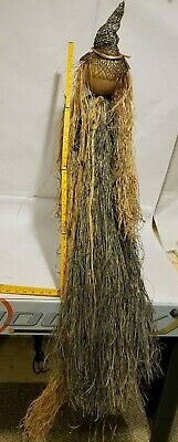 "Halloween Clearance Decorations 36"" Straw Fiber Witch broom Props Yard Decor"