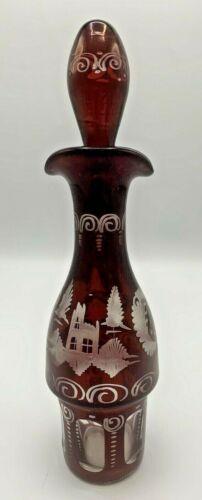 Antique Bohemian Ruby Red Glass Caster Cruet Bottle with Castle and Bird Motifs