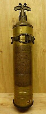 Old Brass PYRENE Heavy Vehicle Type Fire Extinguisher with orig mount bracket