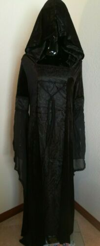 Black Gothic Medieval Hooded Velvet Corset Gown Dress Cultist Witch Wizard sz L