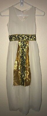 girls size 6-8 GODDESS HALLOWEEN COSTUME DRESS LONG sleeveless GOLD GREEN - Girl Goddess Halloween Costumes