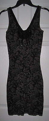 FREE PEOPLE GRAY BLACK PAISLEY PRINT BEADED XS STRETCH DRESS Beaded Paisley Print Dress