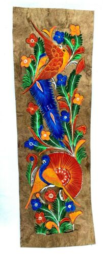 """MEXICAN BARK PAINTING AMATE BIRDS  FLOWERS 23 """" x 7 1/2"""" GUERRERO MEXICO"""
