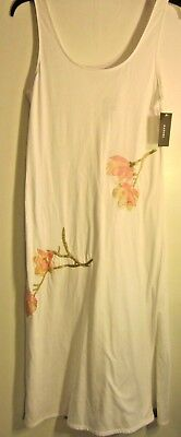 New NATORI White Sleeveless Midi Night Gown w/ Embroidered Cherry Blossoms Small