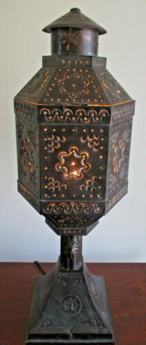 STUNNING VINTAGE HAND MADE MEXICAN PUNCHED TIN FOLK ART TABLE LAMP