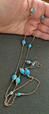 """Rarities Carol Brodie Sterling Silver Turquoise Vermeil 37"""" Station Necklace HSN"""
