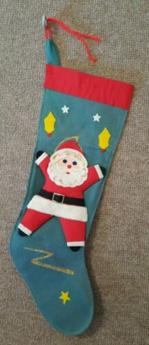 "Vintage Felt & Cardboard Santa Claus Green Red Christmas Stocking 20"" MCM Japan"