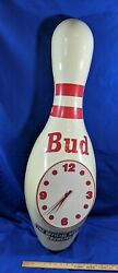 42 HUGE Budweiser Bowling Pin 3-D Wall Clock Sign Bud VTG Advertising Official