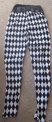WOMEN'S LOL VINTAGE HALLOWEEN LEGGINGS STRIPED BLACK & WHITE SIZE L COSTUME - Black And White Stripes Halloween Costumes