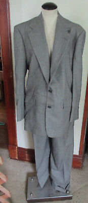Vintage Custom Men DUNHILL Gray Pinstripe Suit Coat Jacket & cuff pants USA