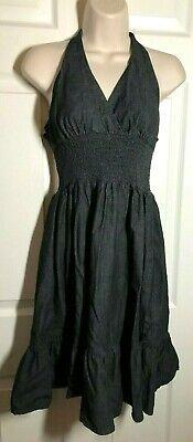 American Rag Cie ~ Black Denim Halter Dress ~ Size M Cotton Denim Halter Dress