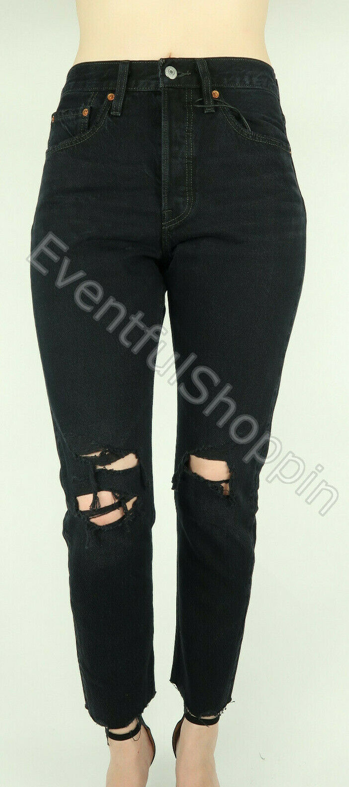 NWT Levis 501 Skinny Premium Big E High Rise Destroyed Jeans
