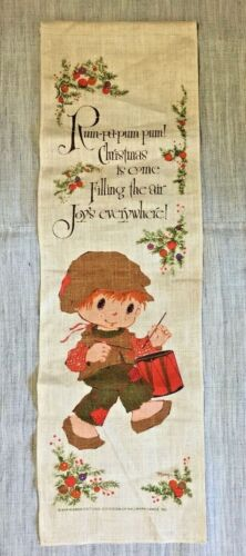Vintage Little Drummer Boy Banner Wall Hanging for Retro Holiday Display Decor