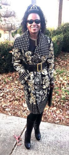 New Designer Oscar De La Renta Sequins Beads Studs Embroidered Coat Jacket S-l16