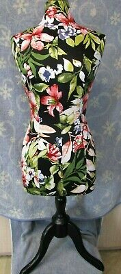 Bright Floral Female Mannequin Torso Dress Form Tripod Stand Clothing Display