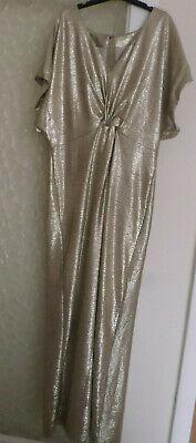 NEW Ladies Jenny Packham Gold Metallic Twist Knot Maxi Dress Size: 18 RRP: £69