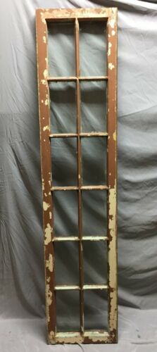 Antique 12 Lite Sidelight Transom Window Sash  Vintage Old  16X70 112-19C