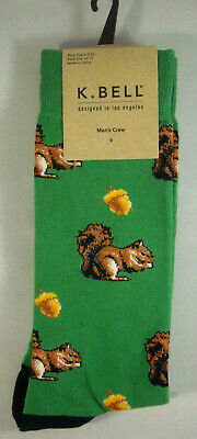 SQUIRRELS & ACORN NUTS * MEN'S NOVELTY DRESS CREW SOCKS * K BELL 10-13 * NEW