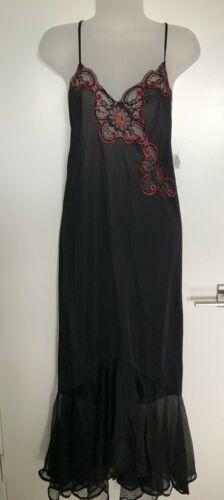 Vintage 70s Nylon Silky Slip Dress NOS LACE Black Nightie Chemise Lingerie Sz S