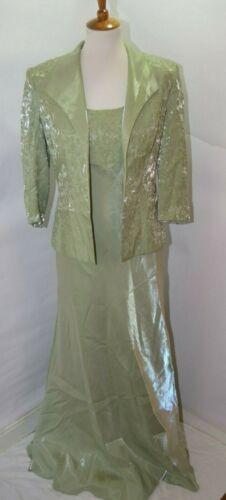 VTG Alex Evenings Metallic Shimmering Green Beaded Floral Jacket Dress Size XL