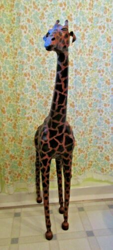 "Giraffe Statue Leather 46 "" Tall! Large Safari Animal WARNING READ DESCRIPTION"