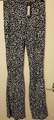 Nasty Gal, you gotta Great Leopard flare Pants, Color: Black/White, Size: UK-8