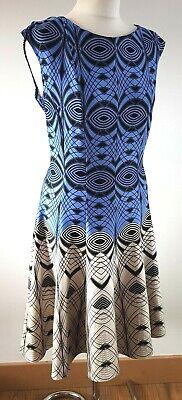 JULIAN TAYLOR Skater dress Geometric Blue Vintage style US 12 Fit UK 14